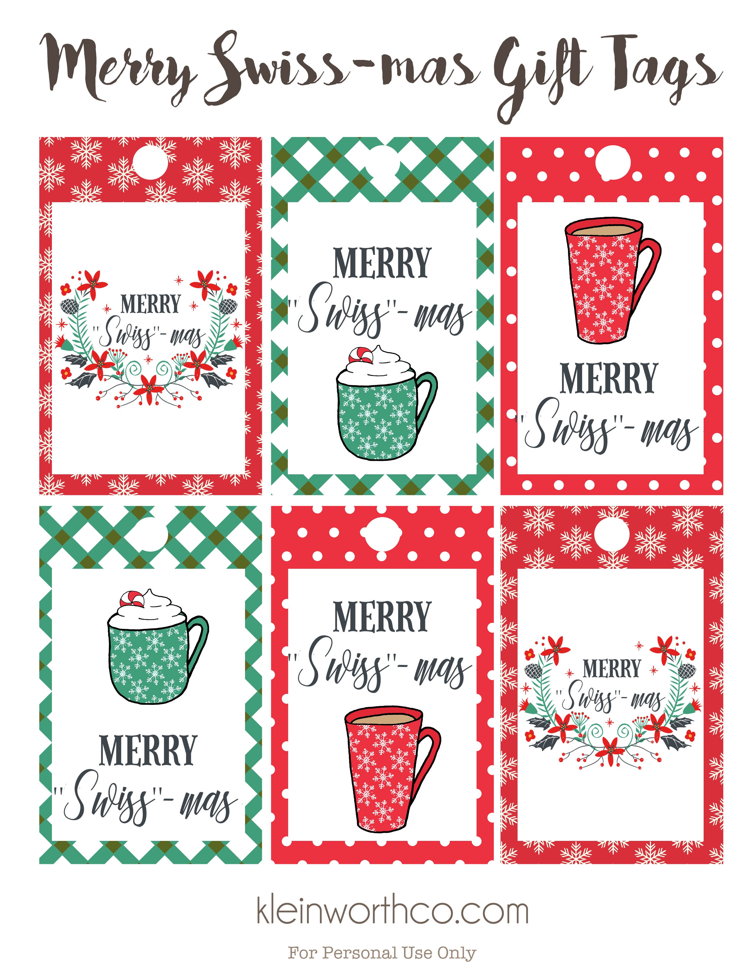 graphic relating to Merry Christmas Tags Printable known as Merry Swiss-Mas Totally free Printable Present Tags - Kleinworth Co