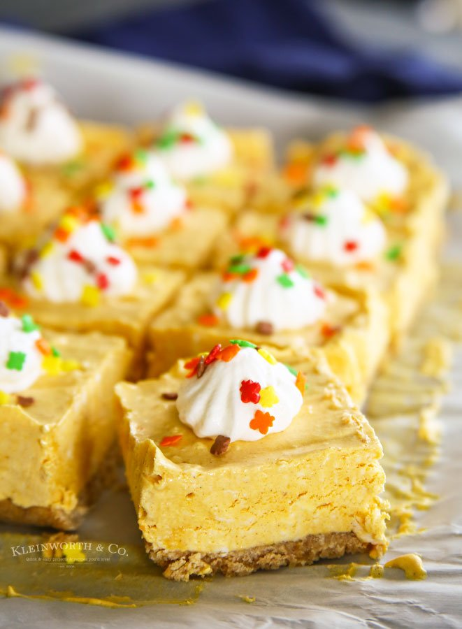 No-Bake Pumpkin Cheesecake Bars Fall desserts Thanksgiving desserts