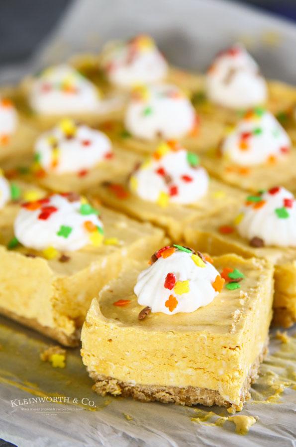 Fall Recipe - No-Bake Pumpkin Cheesecake Bars