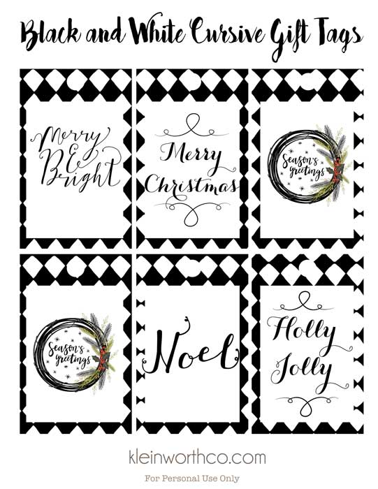 photo about Printable Christmas Tags Black and White named Black and White Cursive Absolutely free Printable Reward Tags