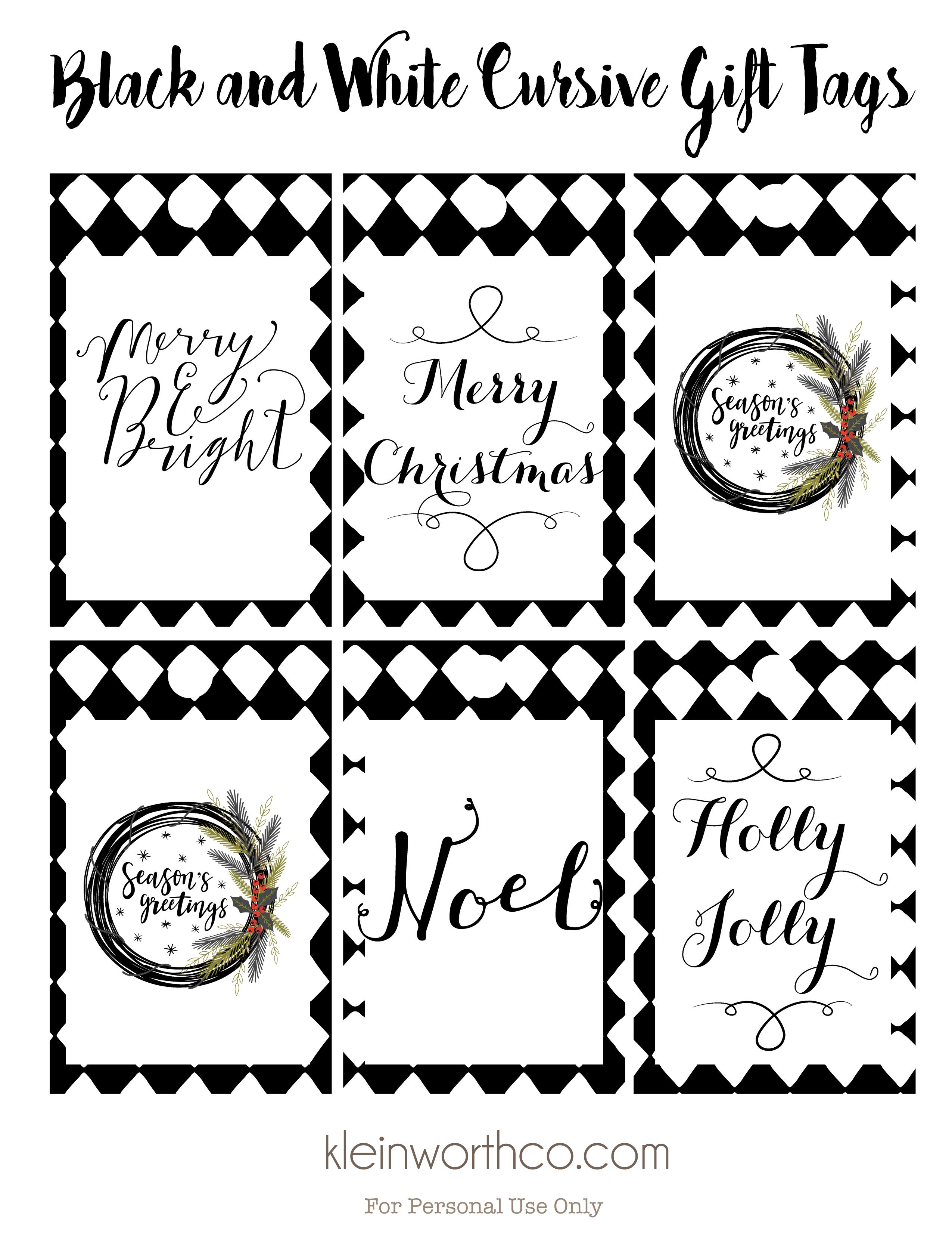 Black And White Cursive Free Printable Gift Tags Kleinworth Co