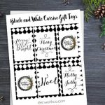 Black and White Cursive Free Printable Gift Tags