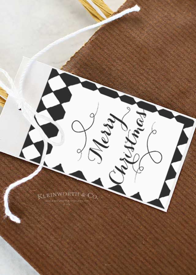 Free Gift Tags - Black and White Cursive Free Printable Gift Tags