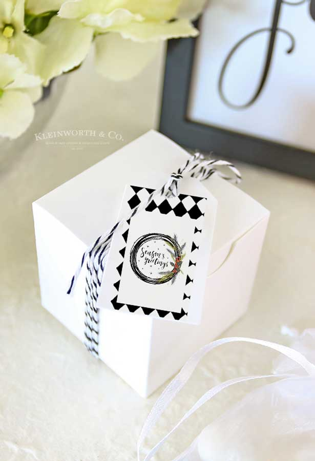 Cute Gift Tags - Black and White Cursive Free Printable Gift Tags
