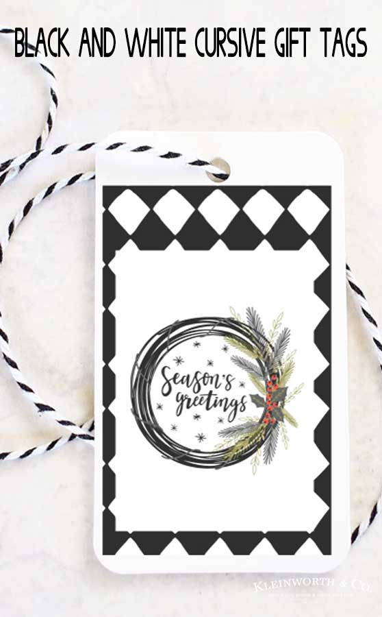 Black and White Cursive Free Printable Gift Tags