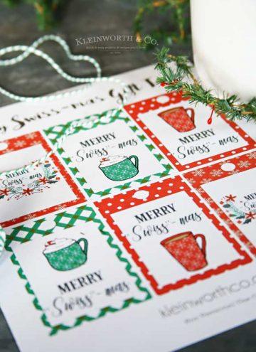 Neighbor gifts - Merry Swiss-Mas Free Printable Gift Tags