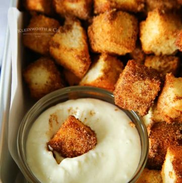 Air Fryer Angel Food Cake Churro Bites with cream cheese dipping sauce