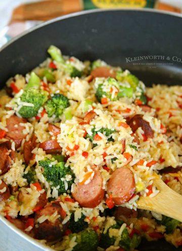 easy family dinner recipe - Cheesy Broccoli Sausage Skillet Dinner