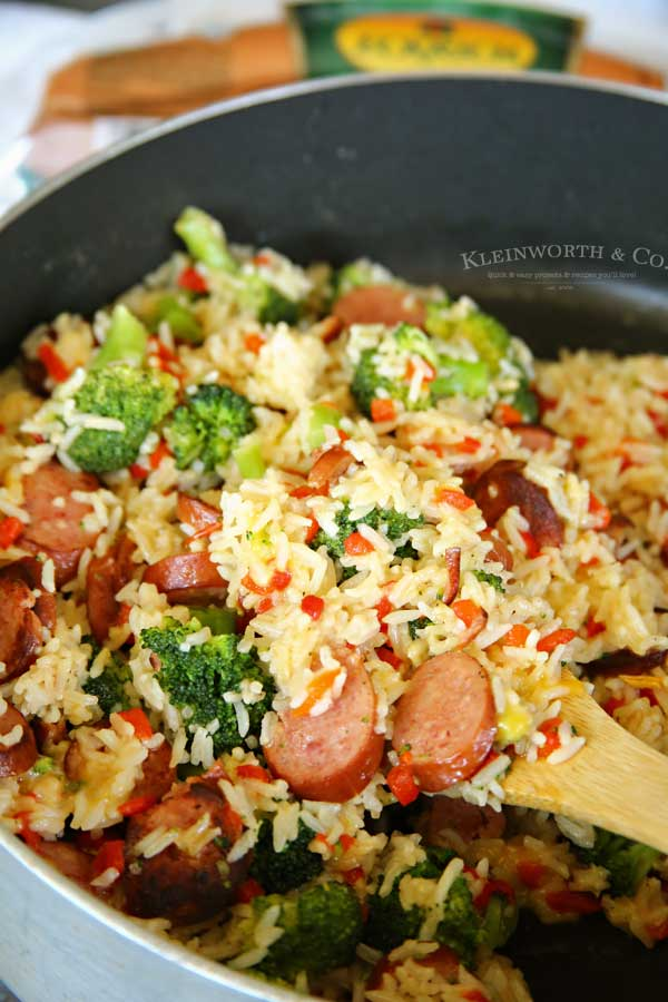 easy family dinner recipe - Cheesy Broccoli Sausage Skillet Dinner