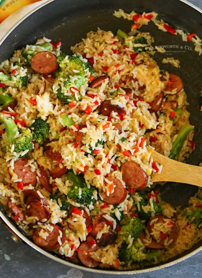 Cheesy Broccoli Sausage Skillet Dinner recipe