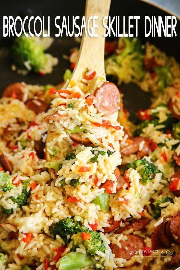 Cheesy Broccoli Sausage Skillet Dinner Kleinworth Amp Co