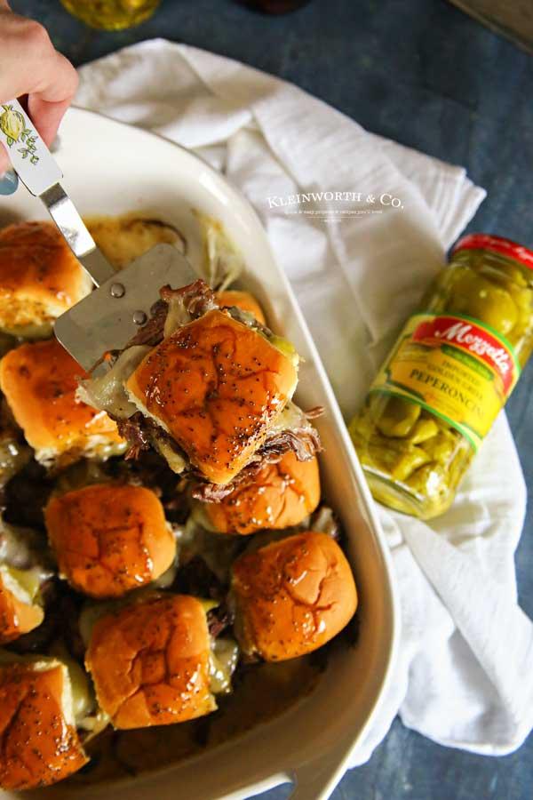 Game Day Snacks - Pressure Cooker Italian Beef Sliders