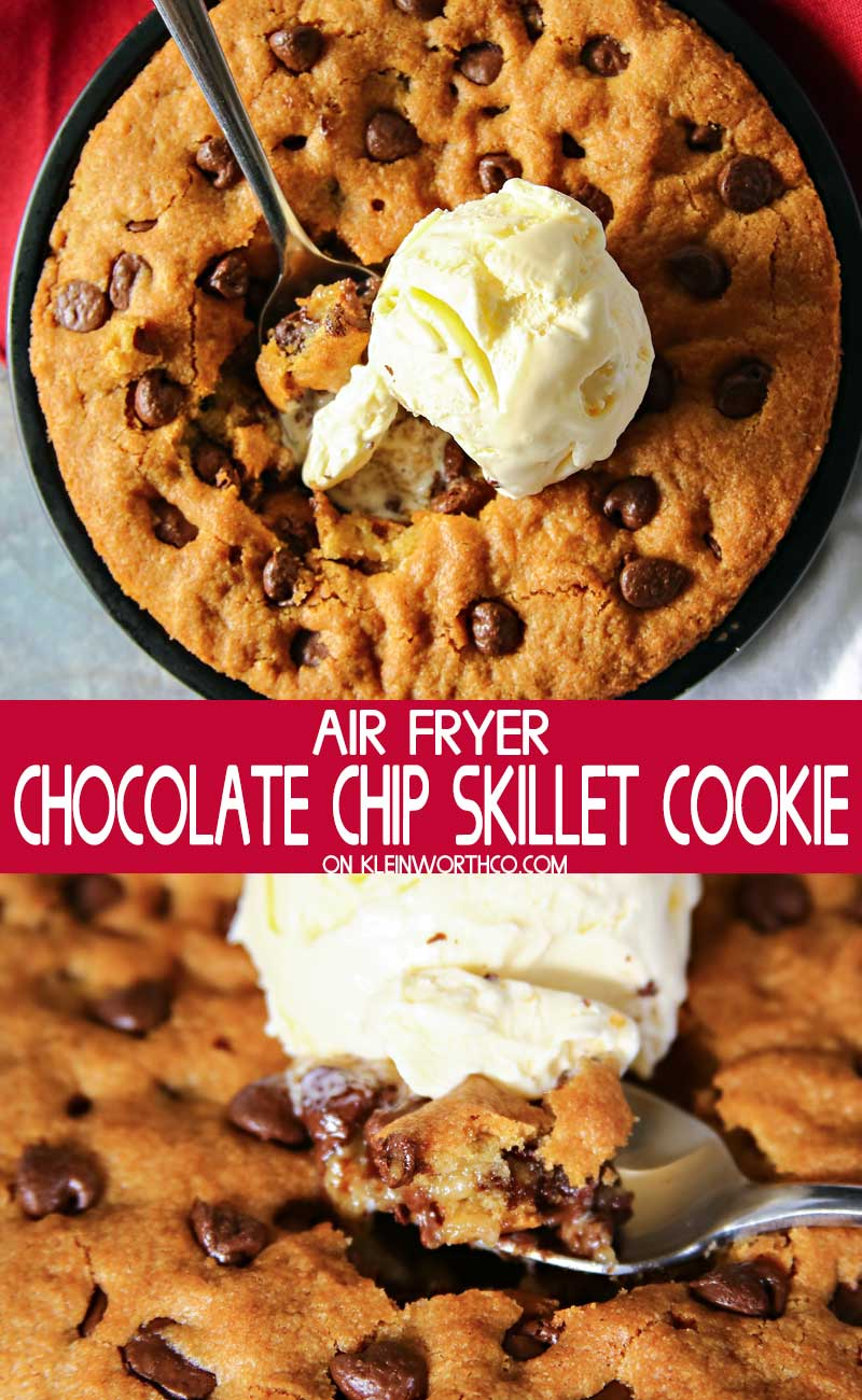 Air Fryer Chocolate Chip Skillet Cookie