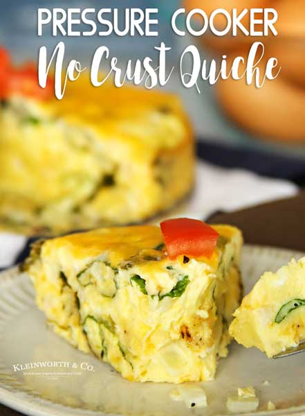 Pressure Cooker Crustless Quiche