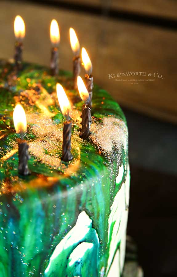 Holographic Marble Drip Icing birthday cake