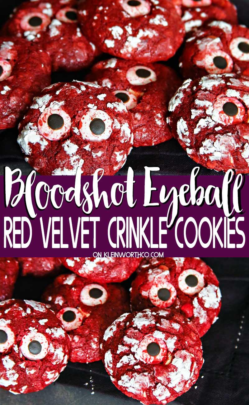 Bloodshot Eyeball Red Velvet Crinkle Cookies