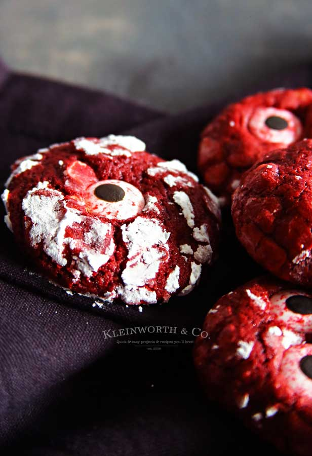 Bloodshot Eyeball Red Velvet Crinkle Cookies recipe