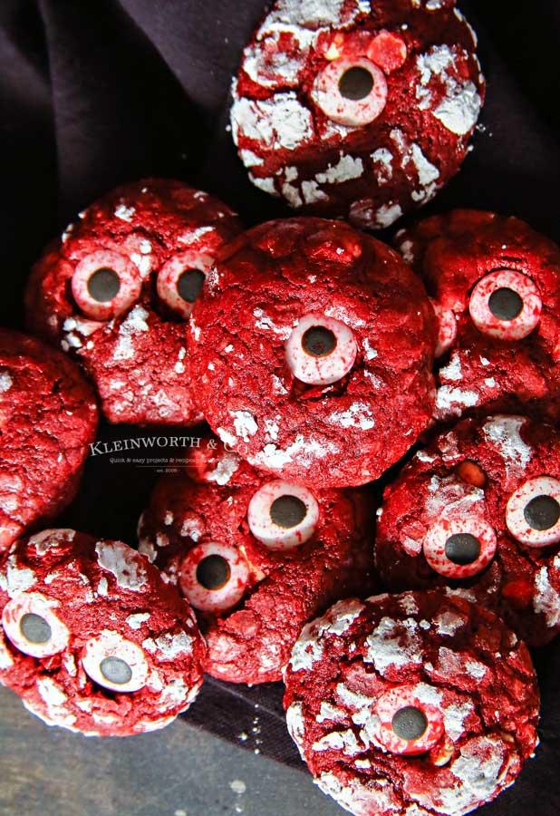 Halloween - Bloodshot Eyeball Red Velvet Crinkle Cookies