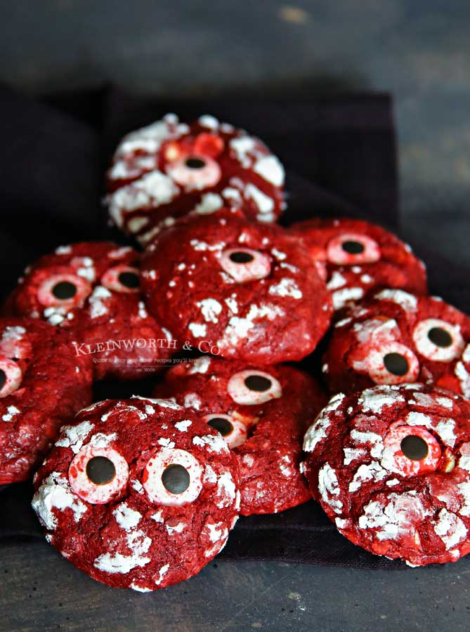 How to make Bloodshot Eyeball Red Velvet Crinkle Cookies