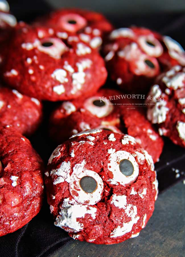 Treats - Bloodshot Eyeball Red Velvet Crinkle Cookies