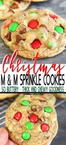 Christmas M&M Sprinkle Cookies