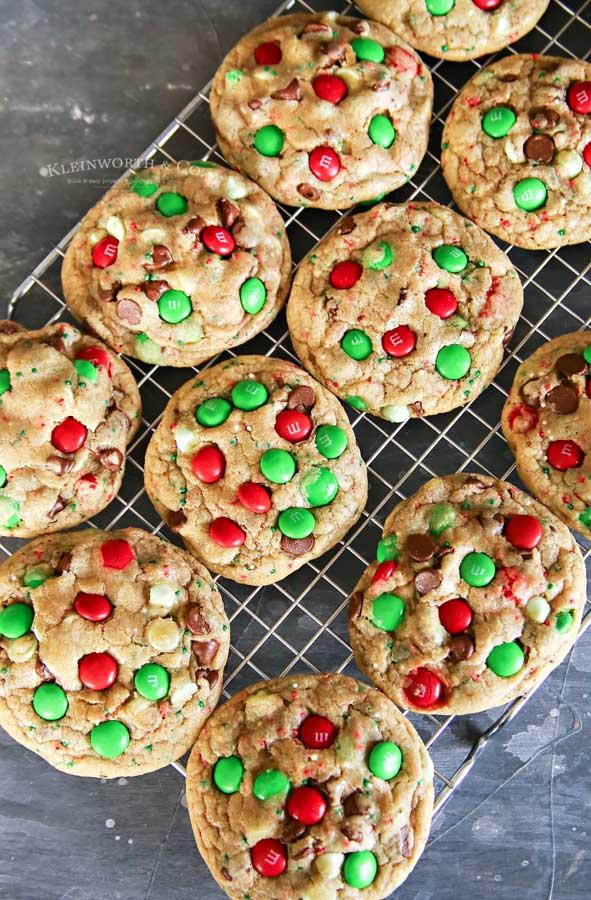 Christmas M&M Sprinkle Cookies recipe
