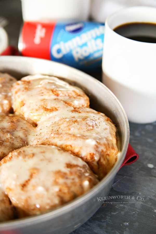 Eggnog Cinnamon Rolls with coffee
