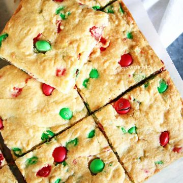 4 ingredient - M&M Christmas Cookie Bars