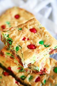 Cake Mix Bars - M&M Christmas Cookie Bars