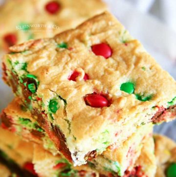 Cake Mix Bars - M&M Christmas Cookie Bars