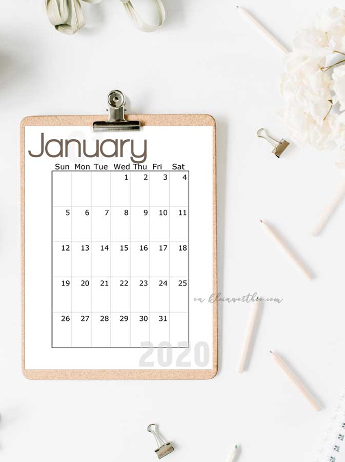 Free Printable Calendar 2020 Bullet Journal