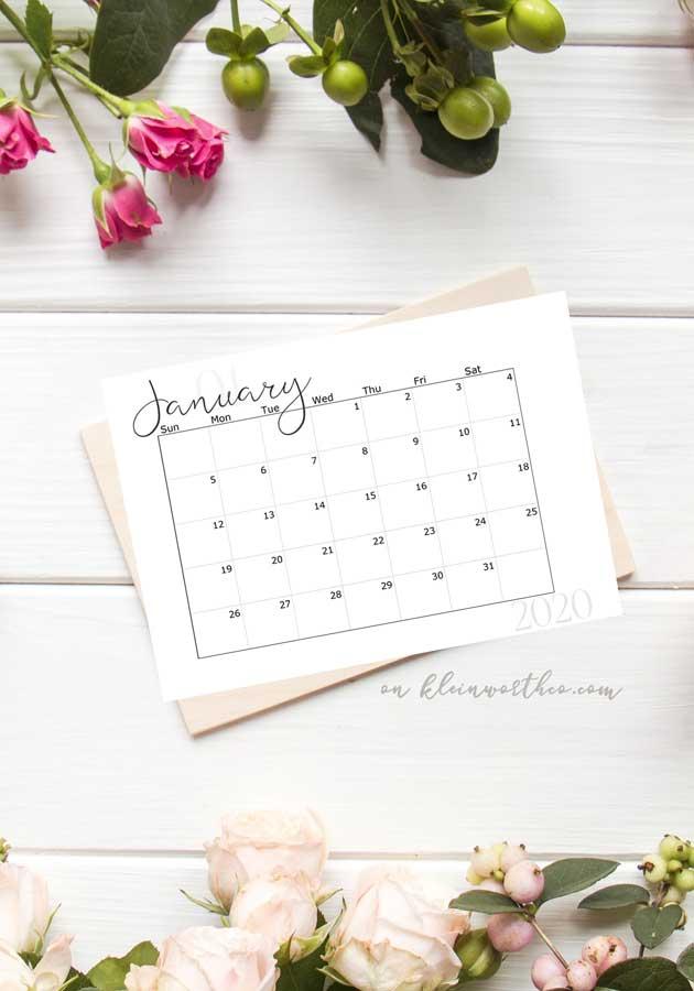 No Notes - 2020 Free Printable Calendar