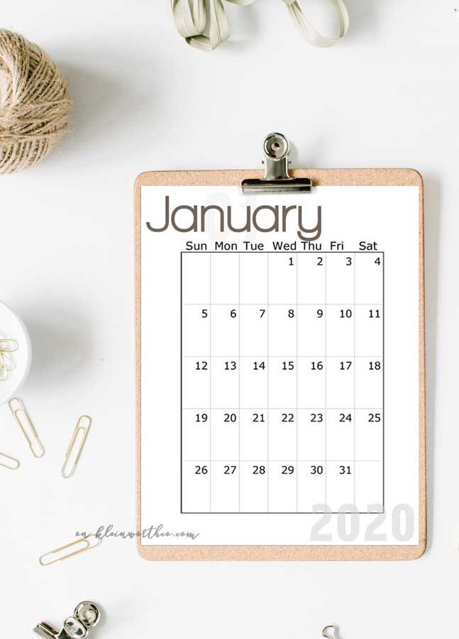 Easy Download - 2020 Free Printable Calendar