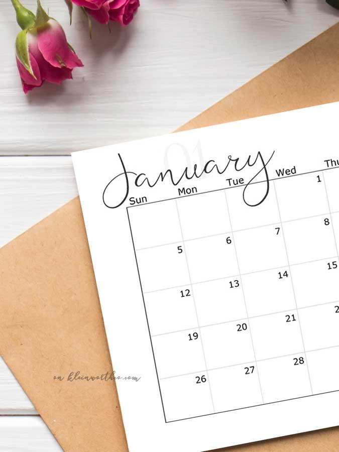 Script, Classy 2020 Free Printable Calendar