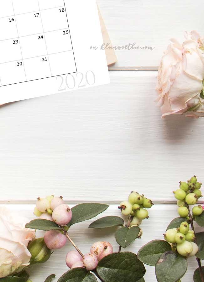 Simple 2020 Free Printable Calendar