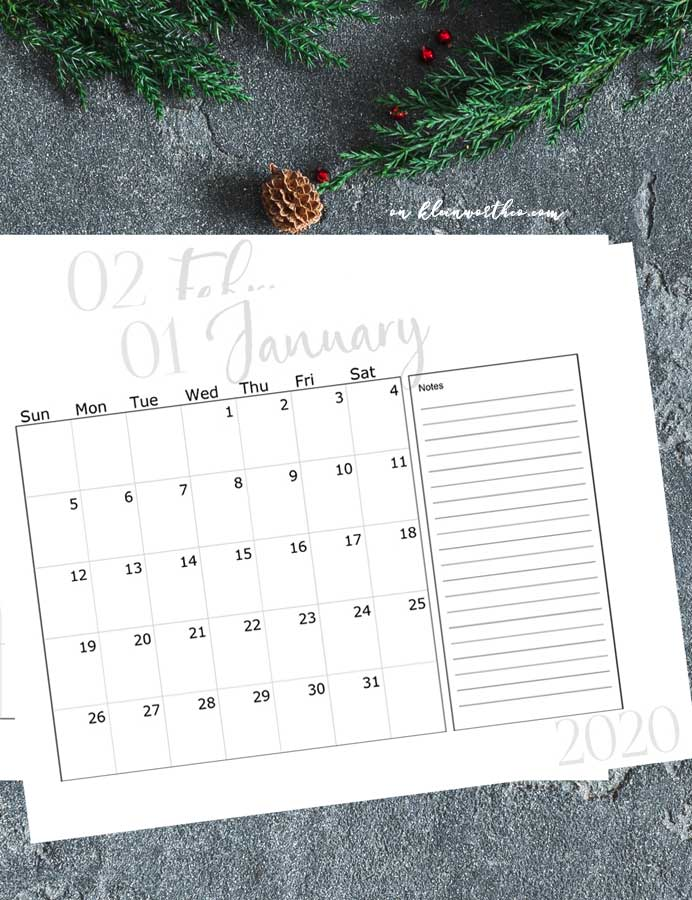 Calendar with notes section - 2020 Free Printable Calendar