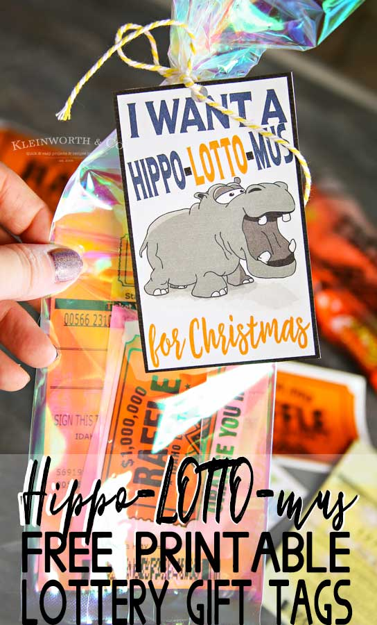 Hippo-LOTTO-mus Lottery Gift Tags