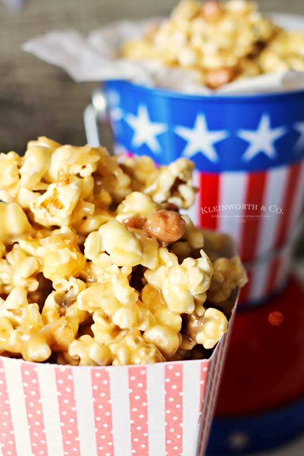 soft caramel popcorn recipe with Spanish peanuts