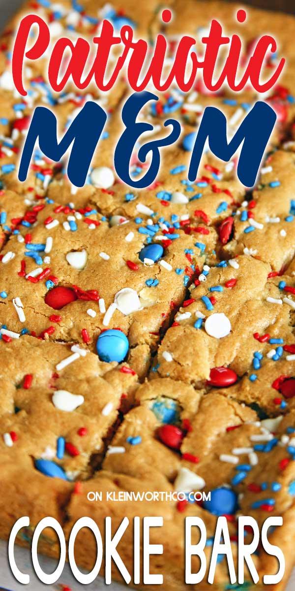 The best Patriotic M&M's Cookie Bars