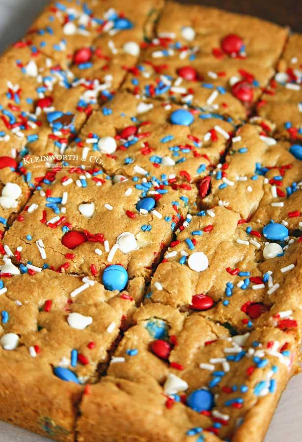 Recipe for Patriotic M&M's Cookie Bars