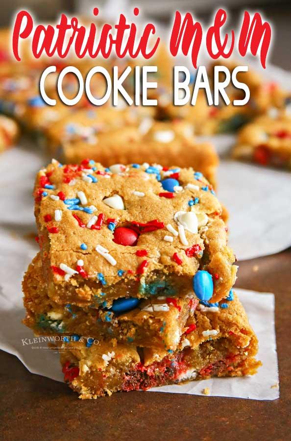 Patriotic M&M's Cookie Bars