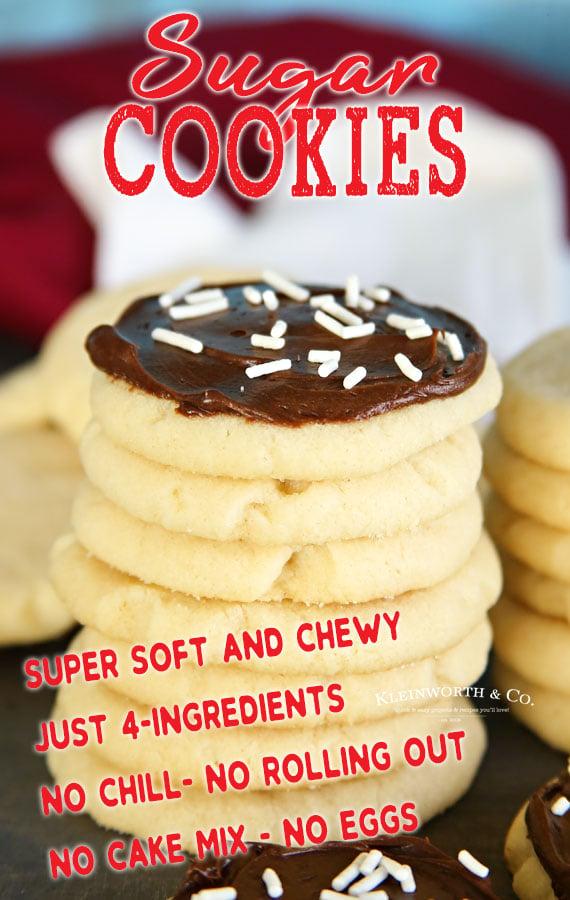 4 Ingredient Sugar Cookies