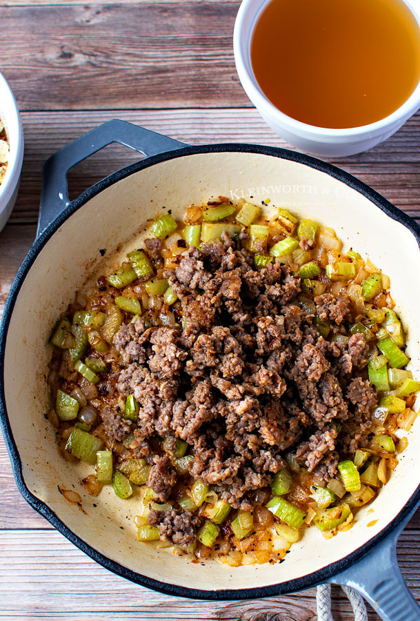 stuffing - cooked veggies with pork