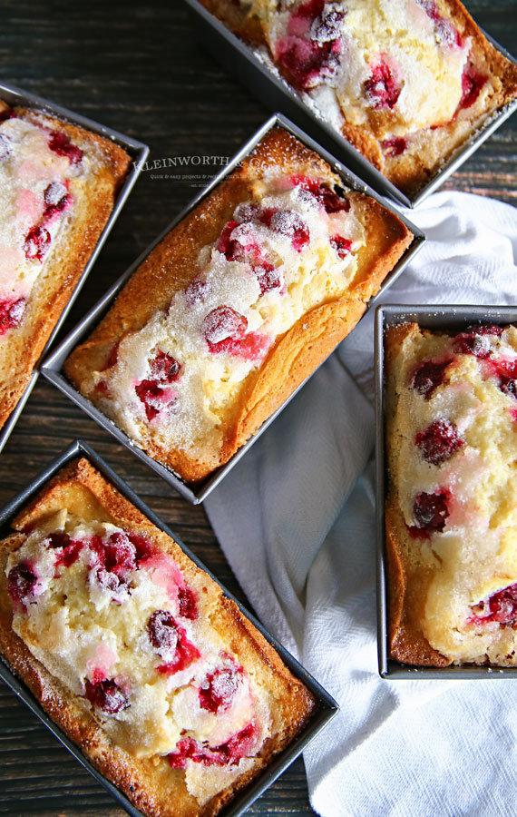 5 mini loaves of cranberry quick bread