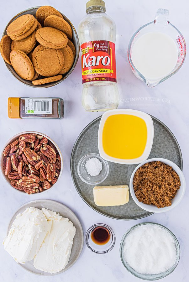 ingredients needed for No-Bake Pecan Pie Cheesecake