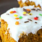 Easy Pumpkin Cake Recipe topped with Cream Cheese Frosting