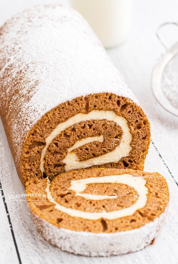 pumpkin cake roll with caramel frosting