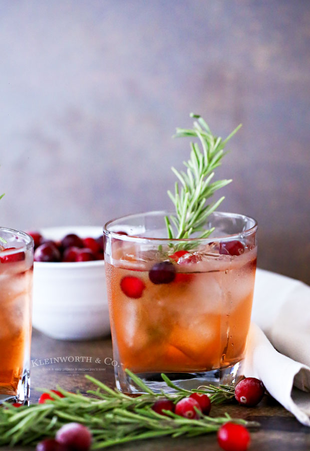 Apple Cranberry Spritzer with rosemary