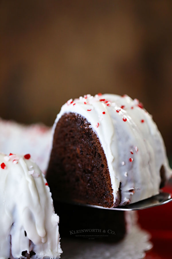 Chocolate Peppermint Bundt Cake with Peppermint Glaze Icing
