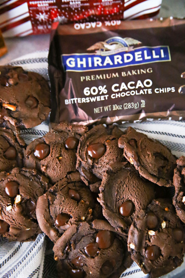 Pretzel Brownie Cookies with Ghirardelli Chocolate Chips